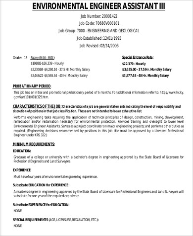 Environmental Engineer Job Description Sample   Examples In