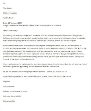 nursing letter of reference