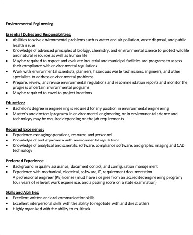6 environmental engineer job description samples sample - Insurance compliance officer job description ...