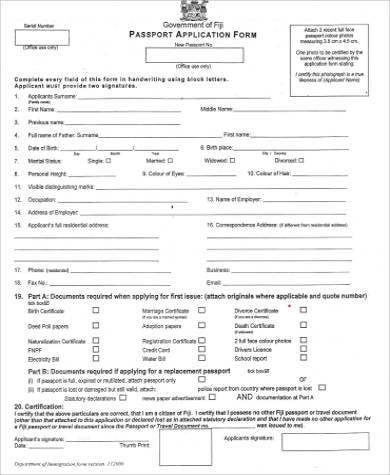 sample passport application