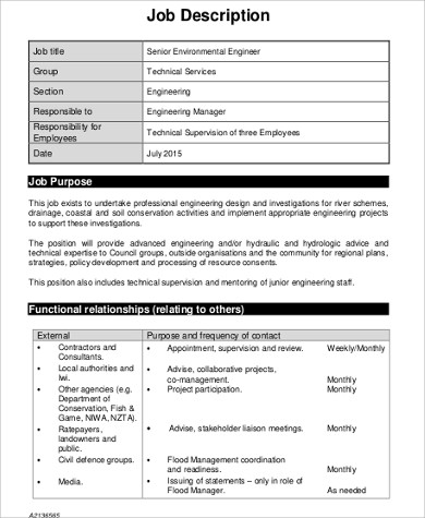 Environmental Engineer Job Description Sample   Examples In Word Pdf