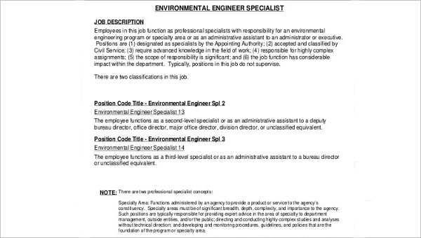 6  environmental engineer job description samples