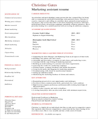 Sample Marketing Assistant Resume   Examples In Word Pdf