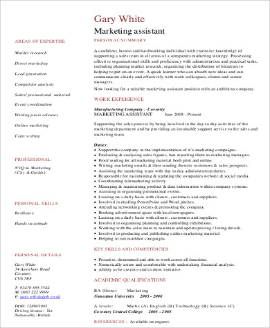 Sample Marketing Assistant Resume - 8+ Examples in Word, PDF