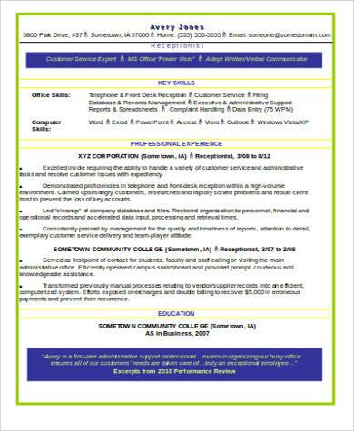 word receptionist resume sample