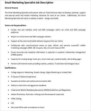 Digital Marketing Job Description | 9 Marketing Specialist Job Description Samples Sample Templates