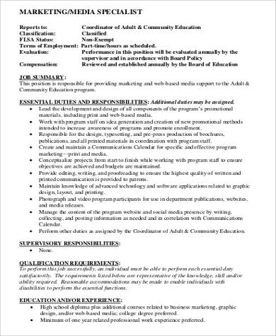marketing media specialist job description example