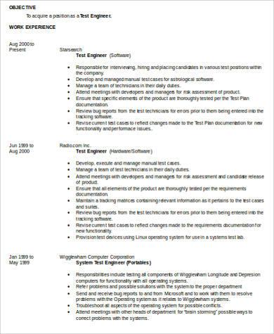 word test lead resume