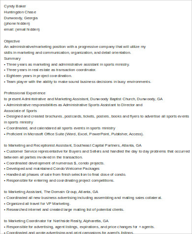 administrative marketing assistant resume