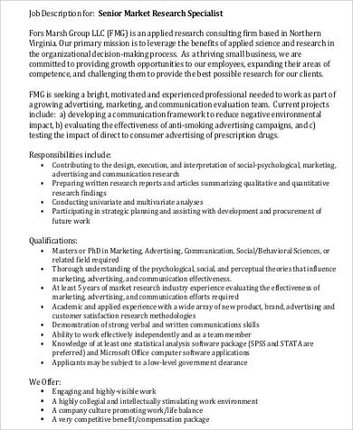 senior marketing research specialist job description