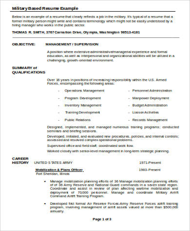 military word resume