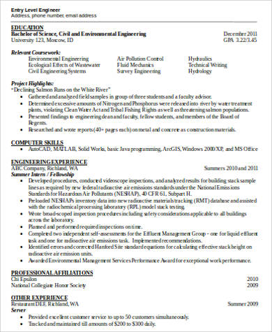 entry level engineer word resume