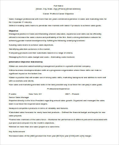 sales manager experience resume