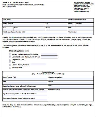sample affidavit of non receipt