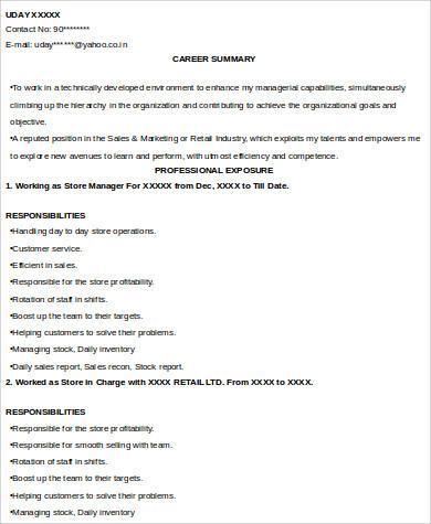 retail sales experience resume