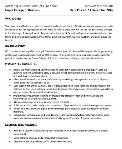 Marketing Specialist Job Description Sample   Examples In Word Pdf