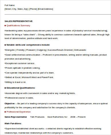 sales representative experience resume