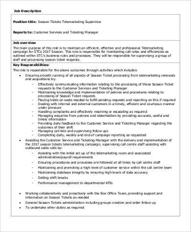 Telemarketing Job Description Sample   Examples In Word Pdf
