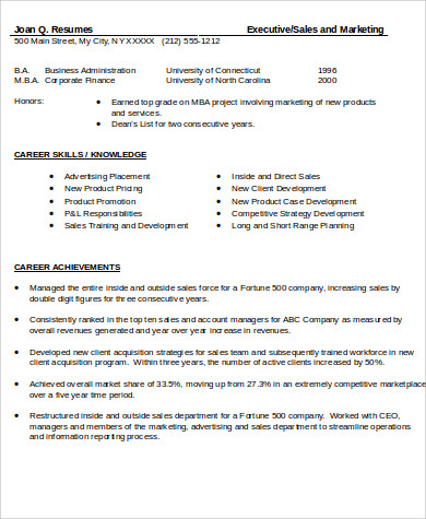 sales experience skills resume sample