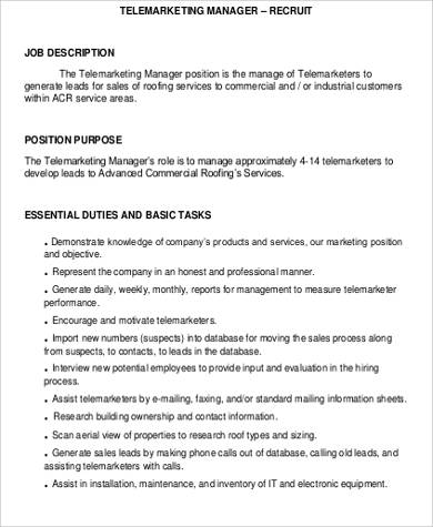 telemarketing resume description