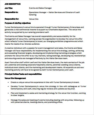 9 sales and marketing job description samples sample for Events manager job description template