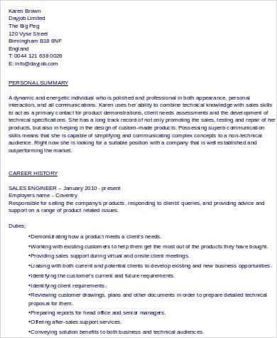 sales engineer resume skills