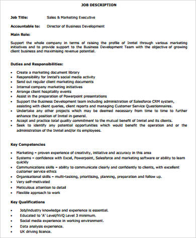 Sales And Marketing Executive Job Description