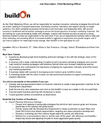 Chief Marketing Officer Job Description Sample   Examples In Word