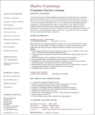customer service sales resume skills
