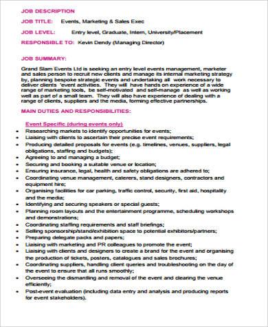 entry level sales and marketing job description