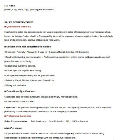 sales representative resume skills