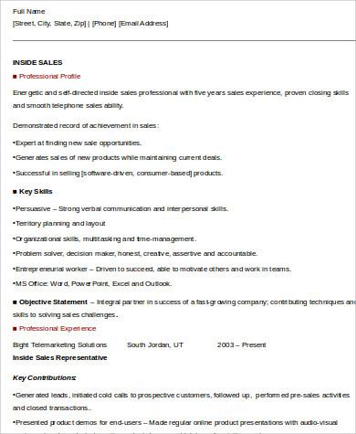 inside sales resume skills example