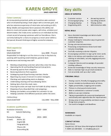 sales assistant resume skills