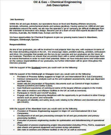 Chemical Engineer Job Description Sample - 9+ Examples In Word, Pdf