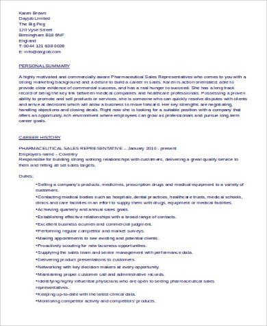 pharmaceutical sales resume examples