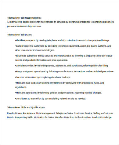 telemarketing job description sample 8 examples in word pdf