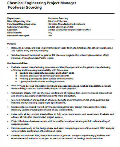 Chemical Engineer Job Description Sample   Examples In Word Pdf