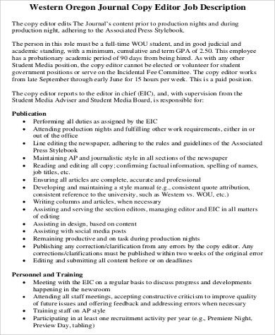 Photo Editor Job Description Magazine Features Editor Job