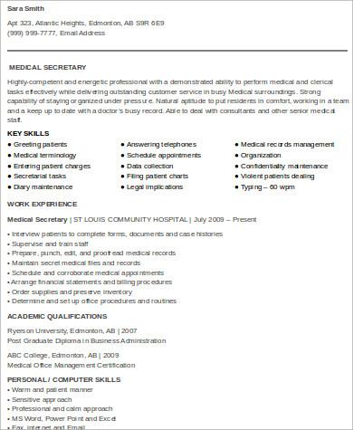 skills for medical secretary resume