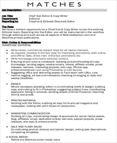 Copy Editor Job Description Sample - 8+ Examples In Word, Pdf