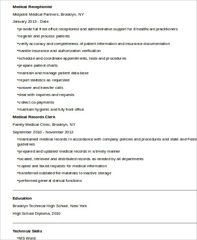 medical receptionist skills resume