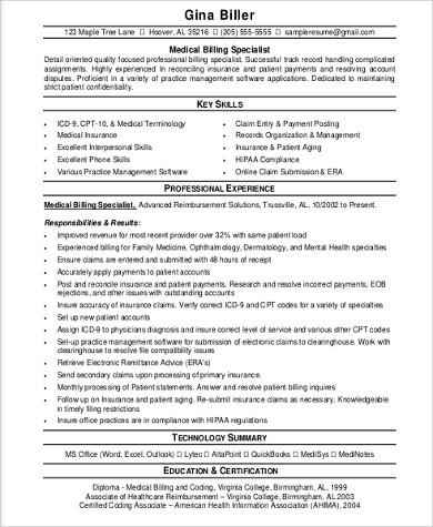 skills for medical billing resume sample