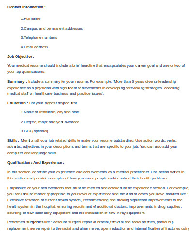skills for professional medical resume