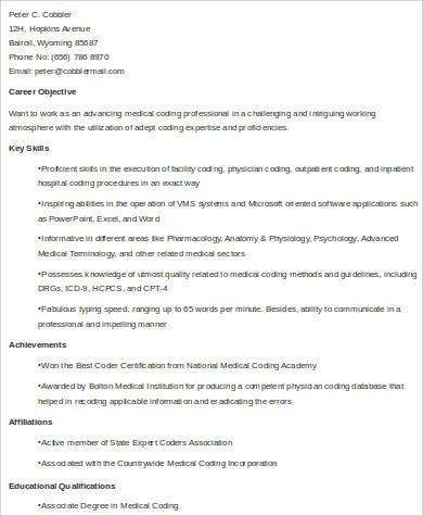skills for medical coding resume