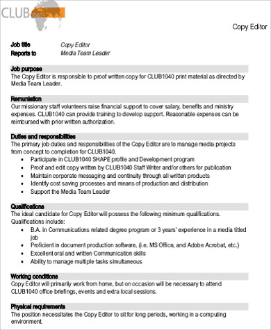 Copy Editor Job Description Sample   Examples In Word Pdf