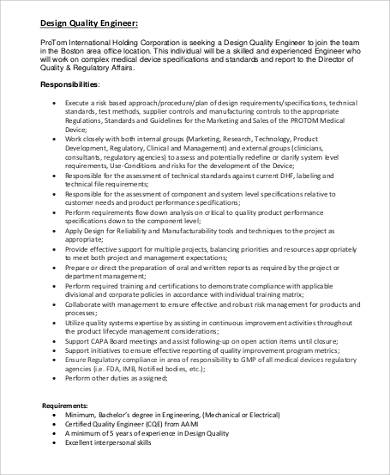 design quality engineer job description - Manufacturing Engineering Job Description