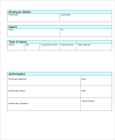 Casual Leave Application Form Pdf