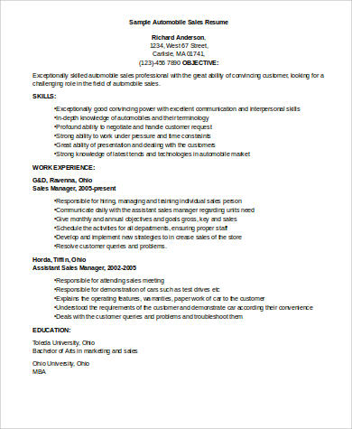 automobile sales executive resume