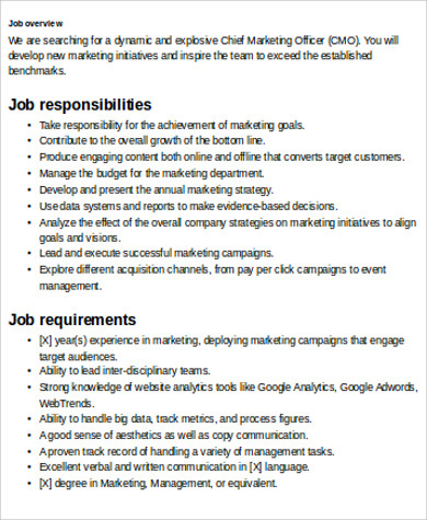 Chief Marketing Officer Job Description Sample - 7+ Examples In