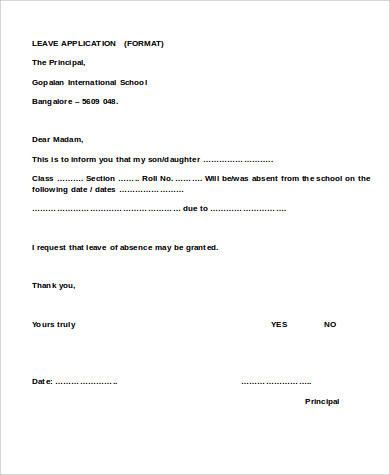 School Leave Application Sample   Examples In Word Pdf